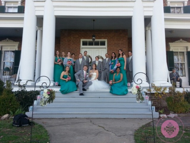 Wedding Party on the steps of Rockwood Manor