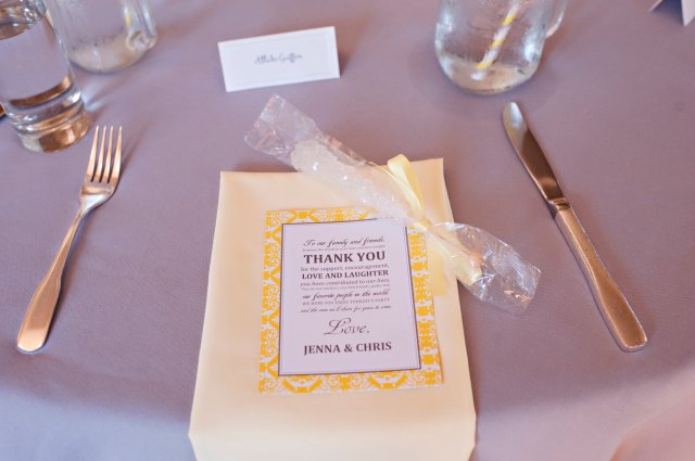 Yellow & Gray place setting