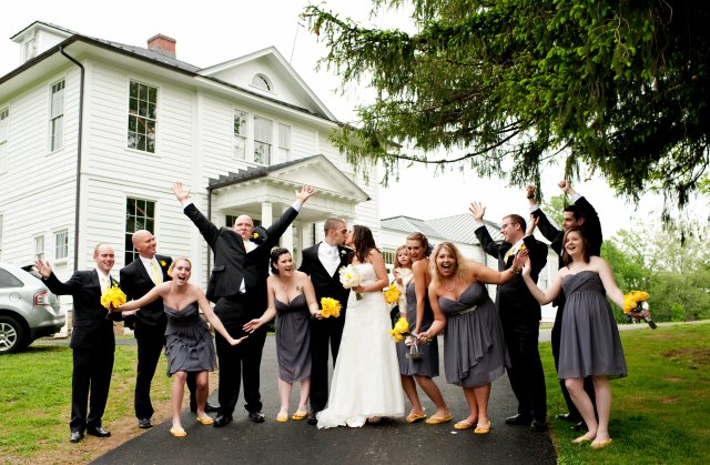 Wedding Party in front of Old School in Waterford