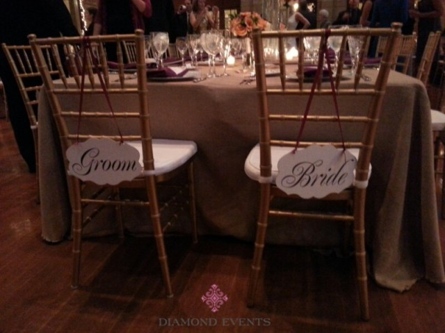 Bride & Groom Signs on Chair