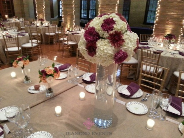 Tall Hydrangea Centerpieces on the Headtable