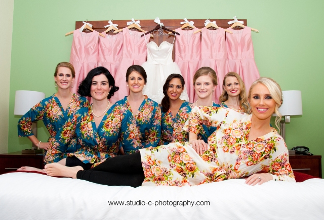 Bride and bridesmaids in robes