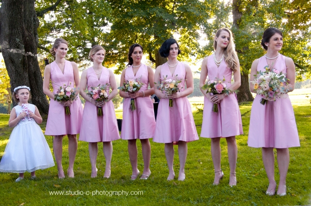 Pink bridesmaid dresses. Diamond Events