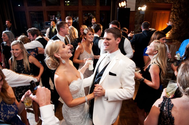 Bride and Groom dancing at reception