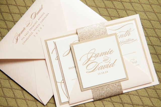 Letterpress wedding invitations in gold