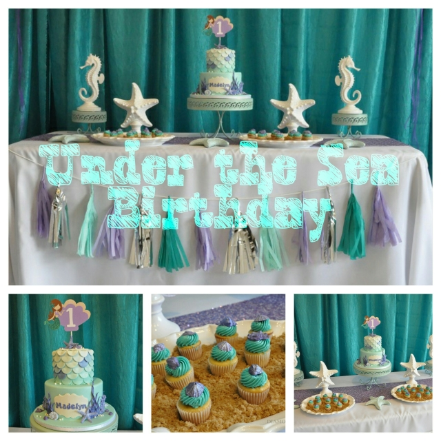 Mermaid ocean under the sea girl birthday party by Diamond Events www.DCDiamondEvents.com #mermaid #sea #under #ocean #party #theme #girl #cake #cupcakes #supplies #idea