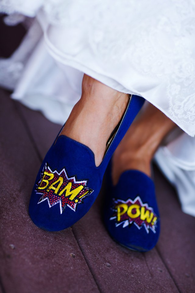 The bride's superhero-themed slippers.