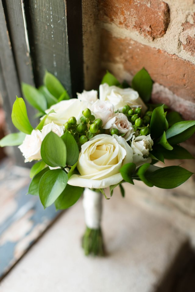 White roses, spray roses and greenery