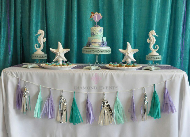 Under the Sea and Mermaid 1st Birthday dessert display