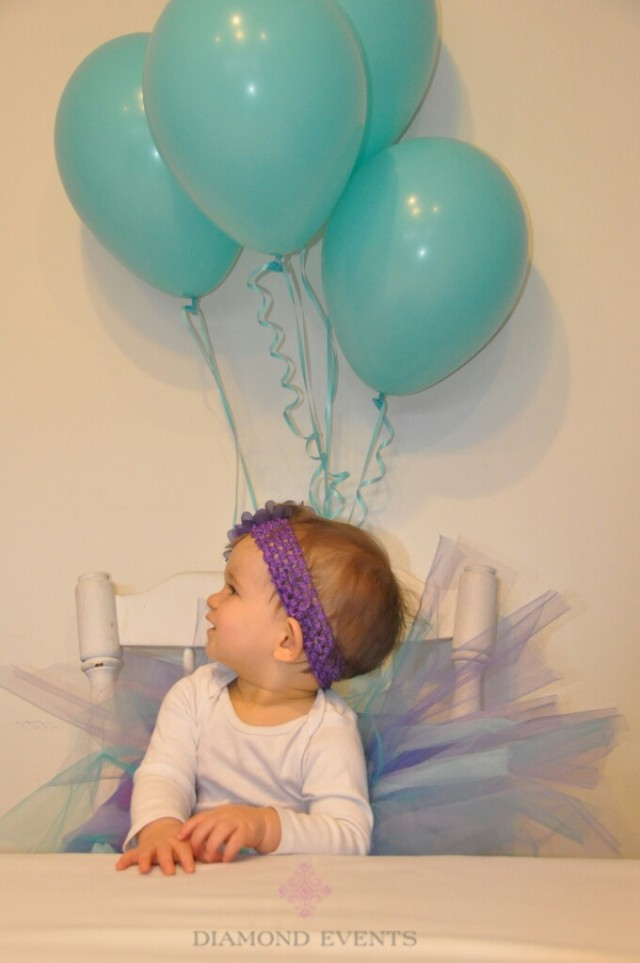 Girls 1st Birthday - Aqua & Purple