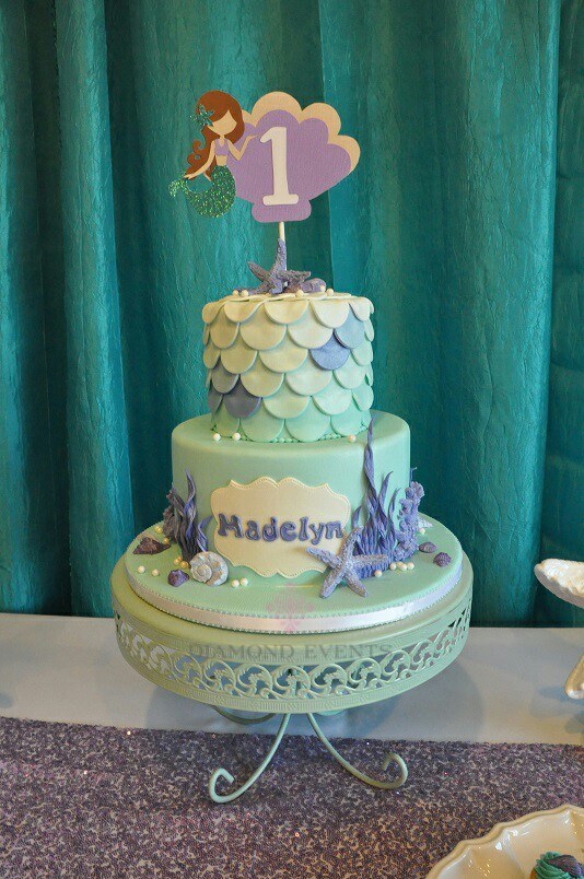 Under the Sea and Mermaid 1st Birthday Cake